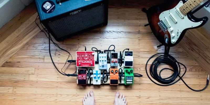 effects pedals with amp and guitar